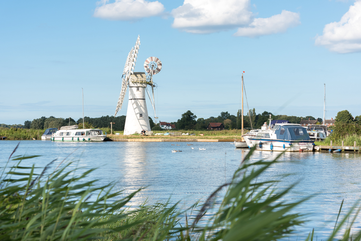 Thurne Mill and boats on the Broads