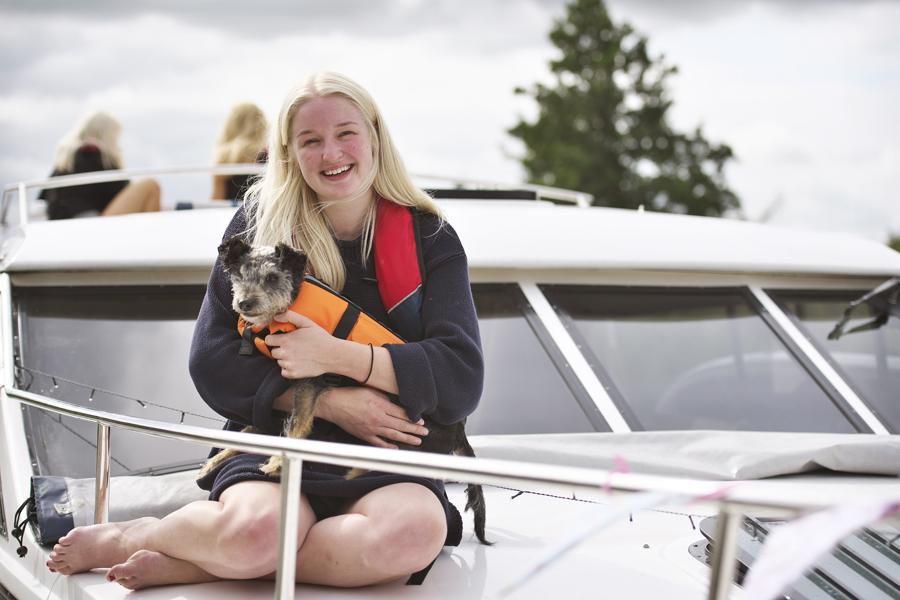 Dog in life jacket